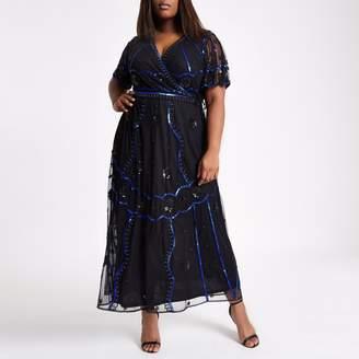River Island Womens Plus Black embellished wrap maxi dress