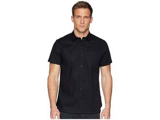 Calvin Klein Short Sleeve Set On Placket Tonal Seersucker Button Down Men's Clothing