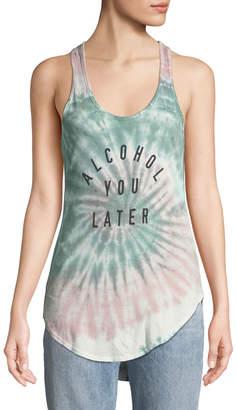 Knit Riot Alcohol You Later Tie-Dye Slogan Tank