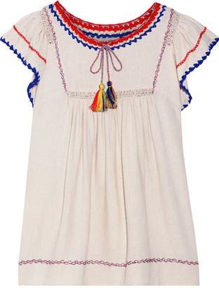 Ulla Johnson - Katya Crochet-trimmed Embroidered Silk-noil Blouse - Ecru $335 thestylecure.com