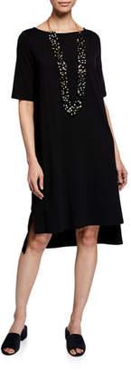Eileen Fisher Elbow-Sleeve High-Low Jersey Dress