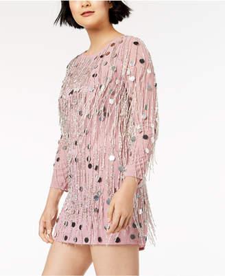 French Connection Embellished Fringe-Trim Dress