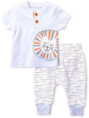 Rene Rofe Newborn Boys) Two-Piece Lion Henley & Stripe Pants Set