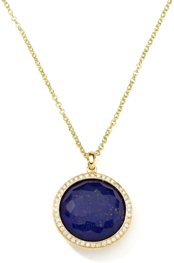 Ippolita Gold Rock Candy Lollipop Diamond Lapis Pendant Necklace