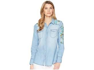 Tribal Long Sleeve Lightweight Denim Shirt w/ Embroidery Detail Women's Long Sleeve Button Up