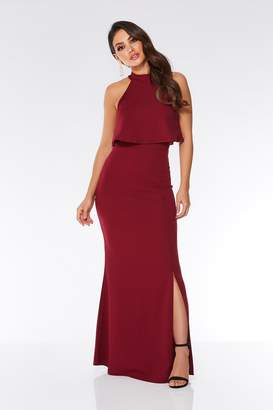Quiz Berry Layered Split Front Maxi Dress