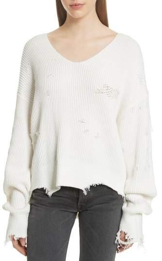 Shaker Stitch Distressed Sweater