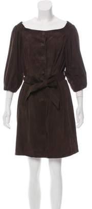 Prada Button-Up Suede Dress Brown Button-Up Suede Dress