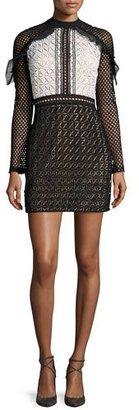 Self-Portrait Geometric-Lace Long-Sleeve Mini Dress $435 thestylecure.com