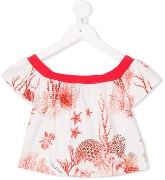 Roberto Cavalli coral print blouse