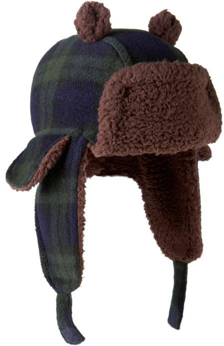 Plaid bear trapper hat