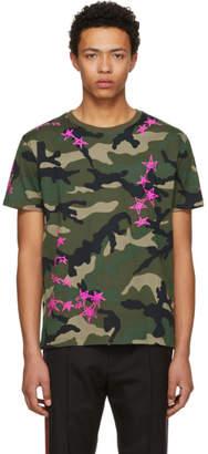 Valentino Green Camo Punk Stars T-Shirt