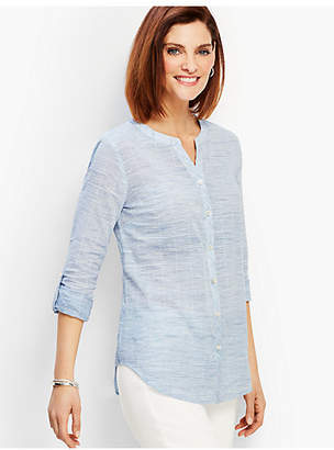 Talbots Space-Dye Pickstitch Button-Front Shirt
