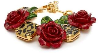 Dolce & Gabbana Leopard And Rose Bracelet - Womens - Red