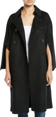Leon Max Cape-Sleeve Double-Breasted Pea Coat