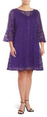 Gabby Skye Plus Lace Bell-Sleeve Shift Dress