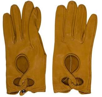 Hermes Cutout Leather Gloves
