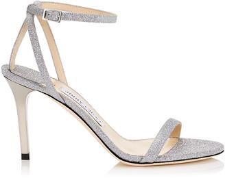 Jimmy Choo MINNY 85 Silver Fine Glitter Leather Sandals