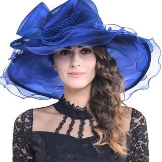 Church's FORBUSITE Women Kentucky Derby Dress Organza Hat Wide Brim Flat Hat S601