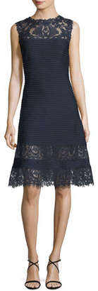 Tadashi Shoji Sleeveless Lace-Trim Pintucked A-Line Dress, Blue $388 thestylecure.com