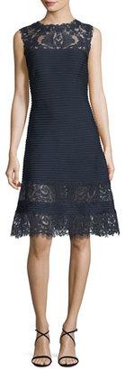 Tadashi Shoji Sleeveless Lace-Trim Pintucked A-Line Dress, Blue $388 thestylecure.com