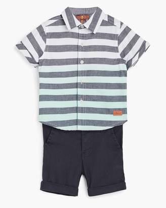 7 For All Mankind Boy's 12M-24M Short Sleeve Button Up & Chino in Aqua