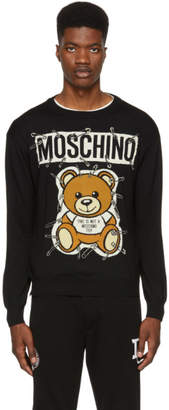 Moschino Black Big Teddy Bear Crewneck Sweater