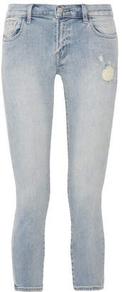 J Brand - Cropped Distressed Low-rise Skinny Jeans - Light denim $230 thestylecure.com
