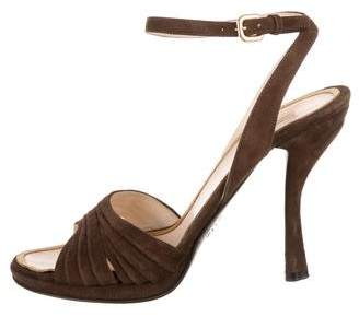 994ec880660f Prada Brown Ankle Buckle Women s Sandals - ShopStyle