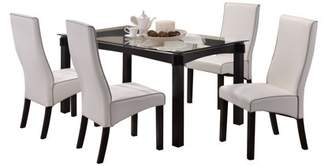 """Pilaster Designs Pres 5 Piece Cappuccino Wood & Glass Transitional 59"""" Rectangle Kitchen Dinette Formal Dining Table & 4 White Upholstered Parsons Side Chairs Set"""