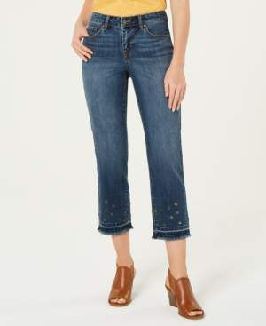 Style&Co. Style & Co Grommet-Trimmed Straight-Leg Cropped Jeans, Created for Macy's
