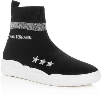 Chiara Ferragni Women's Stretch Knit High Top Sneakers