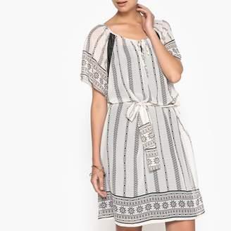 Anne Weyburn Folk Print Dress with Tie Waist