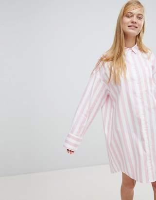 Monki Stripe Oversized Shirt Dress