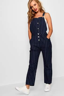 boohoo Petite Stripe Button Front Dungaree