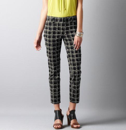 Blurred Plaid Print Slim Fit Ankle Zip Pants