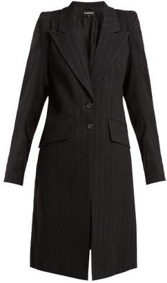 Ann Demeulemeester Algernon Pinstriped Linen Blend Coat - Womens - Black