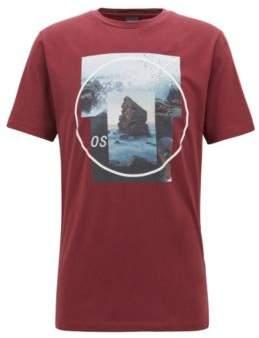 BOSS Hugo Crew-neck T-shirt photographic & gel print L Open Red