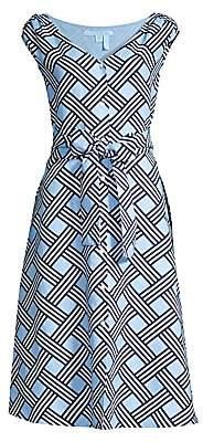 Draper James Women's Lattice Button-Front Linen Midi Dress