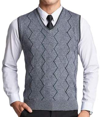 03a7bada01baea UP Men s Casual Slim Fit Knit V-Neck Argyle Pattern Wool Sweater Vest