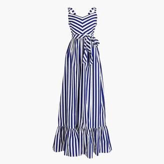 J.Crew Striped ruffle maxi dress