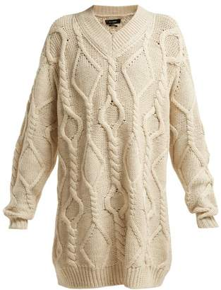 Isabel Marant Bev Cable Knit Wool Sweater - Womens - Ivory