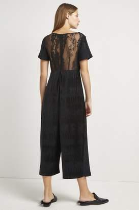 French Connection Sarelle Ottoman Velvet Jersey Jumpsuit