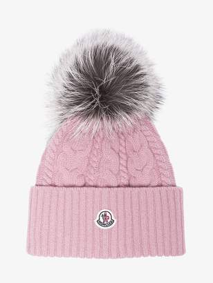 Moncler Pink pom wool beanie hat