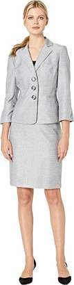 Le Suit Women's 3 Button Notch Collar Tweed Skirt Suit