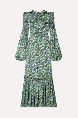 The Vampire's Wife Floral-print Silk-satin Maxi Dress - Blue