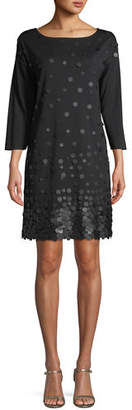 Joan Vass Sequined-Front 3/4-Sleeve Dress, Petite