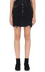Amiri Women's Denim & Leather Miniskirt - Black