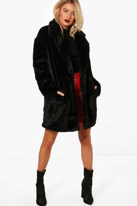 boohoo Boutique Oversized Collar Faux Fur Coat