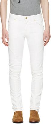 Pierre Balmain Off-White Biker Jeans $695 thestylecure.com